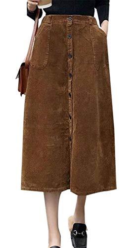 maweisong Moda Mujer botón Elastico en la Cintura una Linea de Falda Larga  con Bolsillos Pana 9dc3b302860c