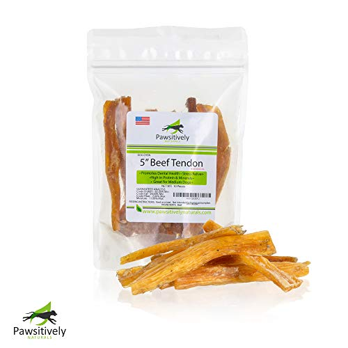 Pawsitively Naturals Beef Tendons for Dogs - All Natural Grain Free Dog Treats Made in The USA Only - Premium Long Lasting Grass Fed Beef Dog Chews - 5