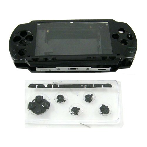 OSTENT Full Housing Repair Mod Case + Buttons Replacement Compatible for Sony PSP 1000 Console Color Black
