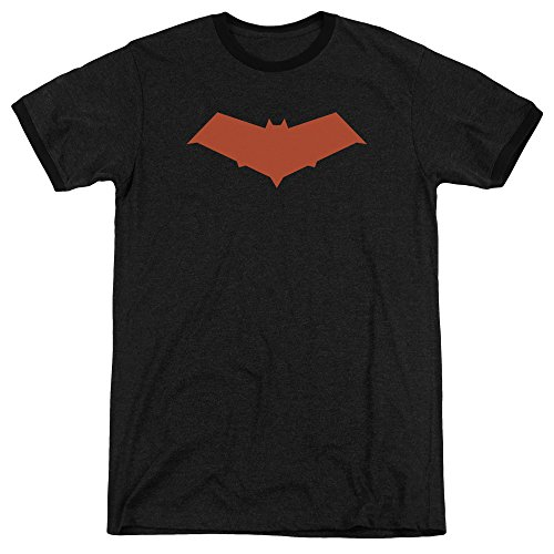 Batman Red Hood Mens Adult Heather Ringer Shirt Black - Ringer Hood