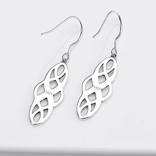 S925 Silver Earrings Solid Sterling Silver Polished Good Luck Irish Celtic Knot Vintage Dangles (Oxidation) by Angel caller (Image #5)