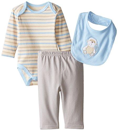 Rene Rofe Baby Baby Boys' 3 Piece Knit Denim Monkey Pant Set with Bodysuit, Safari Blue Stripe/Gray, 6-9 Months