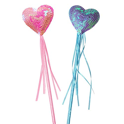 Fairy Princess Magic Wand Heart Wands Ribbon Magic Wand Toy For Kids, Pink And Blue Wands Party Favors by Shxstore]()