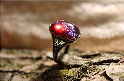 Fire Opal Ring Dragon's Breath (Glass Cabochon) Ring, Renaissance Jewelry, Victorian Jewelry, Red Mexican Fire Opal, Gothic Style Ring