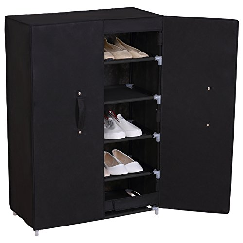 WOLTU 6 Tiers Portable Shoe Rack Closet Shoe Storage with Magnet Door Cabinet Organizer with Dustproof Cover (Glass Slipper Shoes Retail)
