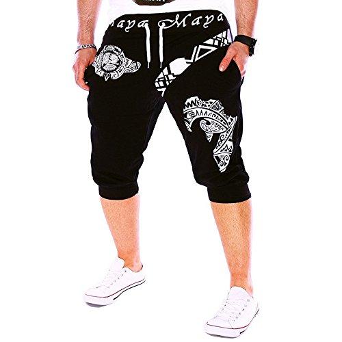 Toimothcn Men's Casual 3/4 Joggers Pants Slim Fit Training Workout Gym Shorts with Pocket (Black1,M)