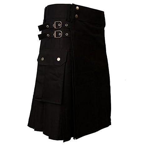 Falda escocesa (kilt) de combate negra, para hombre, con bolsillos ...
