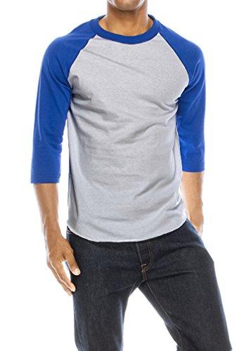 Heather T-shirt Royal Raglan Blue (JNTOP Men's Cotton Half Sleeve Raglan T-Shirt Royal Blue/Heather Grey 3X)