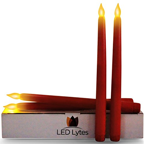 Tapered Timer Candlesticks Set of 4 Battery Operated Flameless LED Candles, Red Wax and Amber Yellow Flame, 11