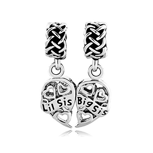 Q&Locket Dangle Filigree 2pcs Heart Shaped Big Sis &Lil Sister Charm Fit Charms Bracelet (Pandora Sister Charm)