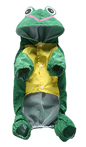MaruPet Outdoor Polyester Puppy Waterproof Glisten Four-Leg Raincoat Doggie Hooded Rain Gear Jumpsuit for Small Extral Small Dog Teddy, Pug, Chihuahua, Shih Tzu, Yorkshire Terriers Green Frog L -