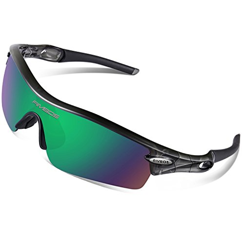 RIVBOS 805 POLARIZED Sports Sunglasses Glasses with 5 Set Interchangeable Lenses for Cycling TR Transparent Grey