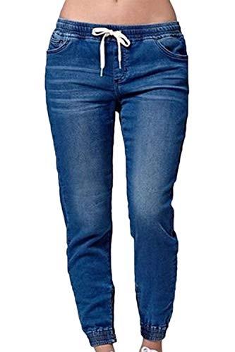 Sevozimda Pantalon Femmes Blue1 Taille lastique Drawtring Jean Denim Pantalon Cargo Capris ZEZwnqr