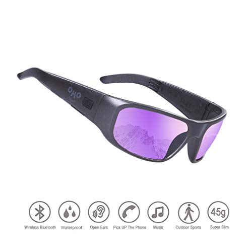 Waterproof Bluetooth Sunglasses,Open Ear Wireless Sunglasses with Polarized UV400 Protection Safety Lenses,Unisex Design Sport Headset for All Smart Phones (Black Frame Mirror Purple Lens)