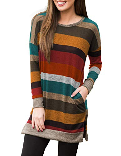 (Miskely Women's Long Sleeve Striped Tunic Tops for Leggings Casual Swing Tunic Dress with Pockets Shirt (XX-Large, Multicolor-09 Orange Blouse))