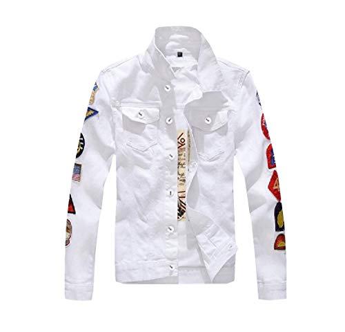Joe Wenko Mens Sport Pattern Coat Patch Slim Fit Denim Jean Jackets