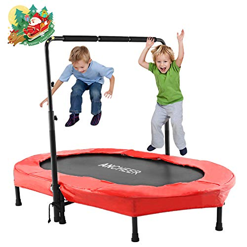 Image of the ANCHEER Foldable Trampoline, Mini Rebounder Trampoline with Adjustable Handle, Exercise Trampoline for Indoor/Garden/Workout Cardio, Parent-Child Twins Trampoline Max Load 220lbs