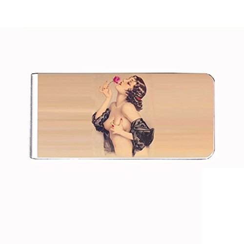 Metal Money Clip Cash Bills Credit Card Holder Pin up Girl D 10 Vintage Rose