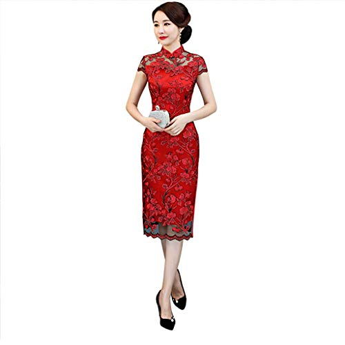 (YAOTIAO Cheongsam Dress Long Section New Summer Heavyweight Silk Embroidered Long Cheongsam Retro Improved Mother Dress Female (Color : Red, Size : L))