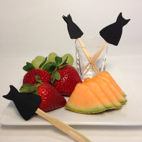 Piece of Cake Parties Wedding and Bridal Shower Appetizer Picks, Perfect Little Black Dress, Set of 12