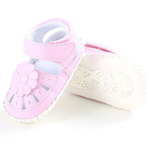 Zapato de Primer Paso Luerme Sandalias de Bebé Diseño Floral Zapato para Verano Rosado