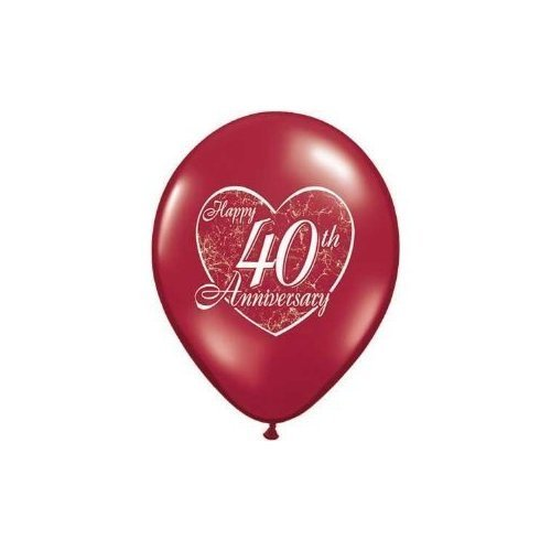 Happy 40th Wedding Anniversary Ruby 11 Latex Balloons x 5 by Qualatex (40th Anniversary Balloons)