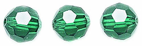 Swarovski #5000 Faceted Round Beads, Transparent Finish, 6mm, Emerald, 10-Pack