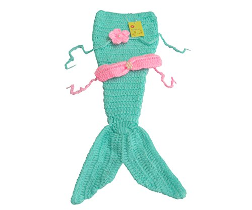 [M&G House Fashion Newborn Baby Photography Prop Handmade Crochet Mermaid Headband Bra Tail Outfit] (Infant Mermaid Outfit)
