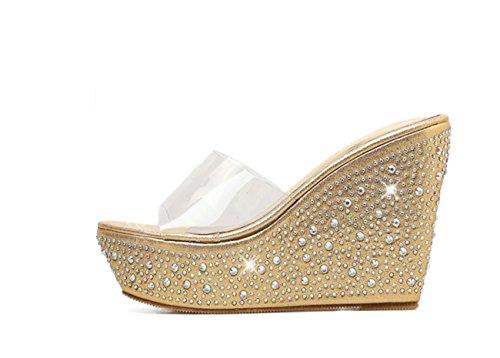 de de cuña Oro Zapatos tacón Zapatillas Plataforma Mujer Sandalias tacón Broche Lentejuelas caseros Transparente Brillantes DANDANJIE Zapatos 5agxPW