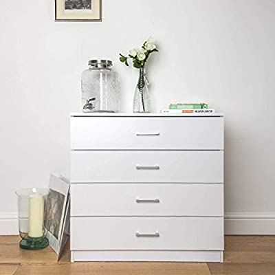 MTFY 4 Drawers Chest, White Wooden Dresser Drawer Storage, Easy to Assemble, Chest of Drawers for The Bedroom, Living Room, Kid's Room -  - dressers-bedroom-furniture, bedroom-furniture, bedroom - 41DnixEjDyL. SS400  -