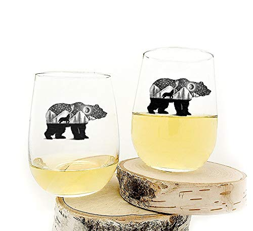 Wine Glasses – Bear and Wolf – Set of Two Stemless Wine Glasses – 17oz. For Sale