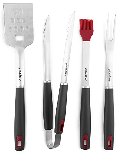 (Grillaholics BBQ Grill Tools Set - 4-Piece Heavy Duty Stainless Steel Barbecue Grilling Utensils - Premium Grill Accessories for Barbecue - Spatula, Tongs, Fork, and Basting Brush)