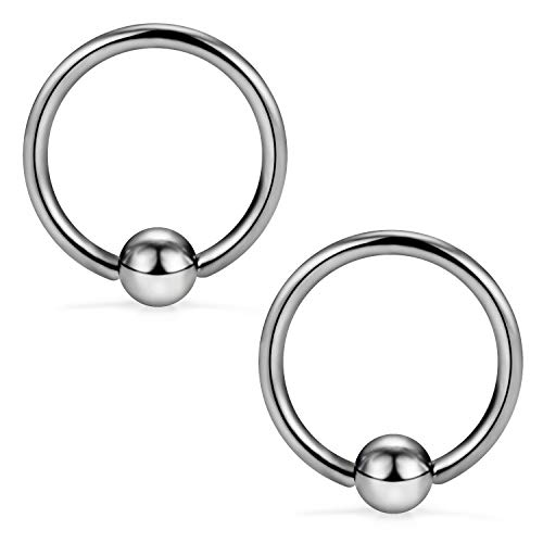 SCERRING 2PCS 16G G23 Titanium Captive Bead Ring Nose Rings Hoop Helix Daith Cartilage Tragus Earrings Eyebrow Body Piercing 10mm ()