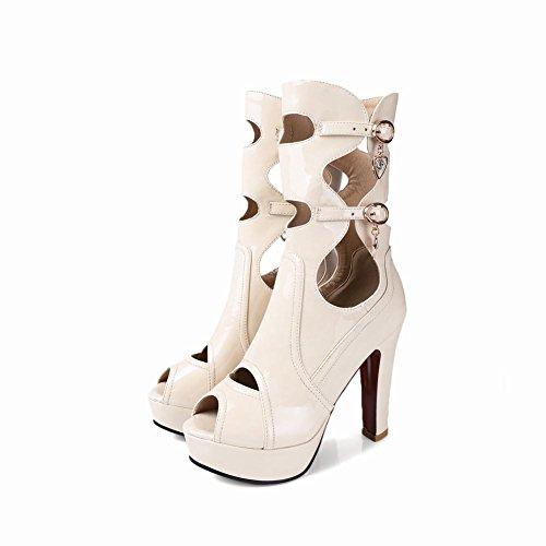 Latasa Mujeres Chic High Heel Primavera Verano Botas Blanco (imitación De Cuero)