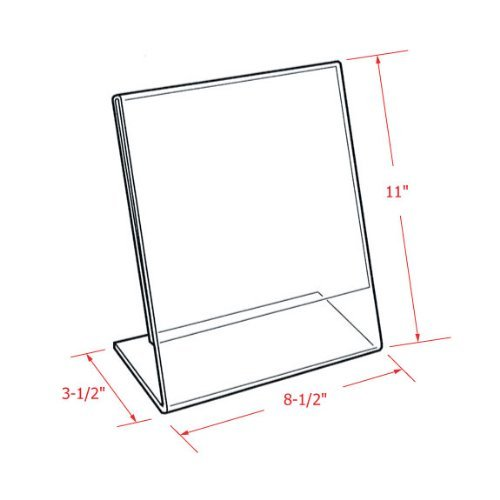 My Charity Boxes Inc ,MCB Slant Back Sign Holder Portrait-Style Ad Frame Side Insert Clear Acrylic 8.5 x 11-Inches Slant Back Thick Clear Acrylic Sign Holder, AC-BH-01 Pack of 3