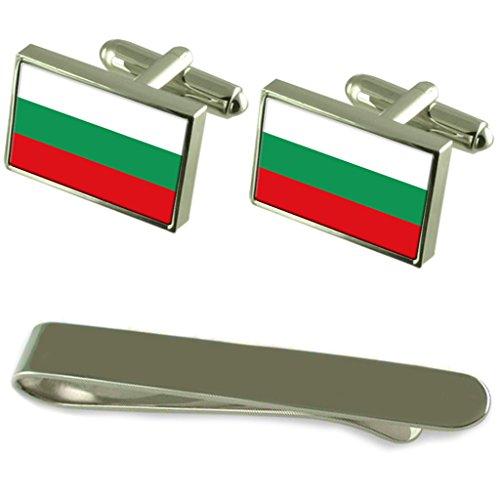 Boutons de manchette argent Drapeau Bulgarie un Ensemble cadeau Cravate