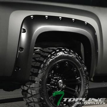 Topline Autopart Matte Black Pocket Rivet Style Fender Flare Jr 07-13 Silverado 1500 5.8' Short Bed (Chevy Silverado Rims And Tires)