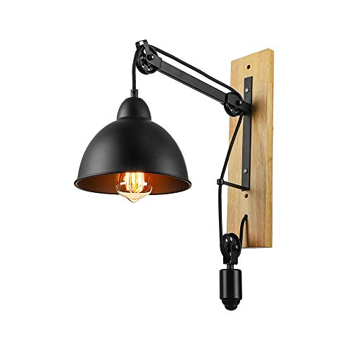 (Adjustable Nature Iron Vintage Wall Sconce - LITFAD Black Finish Wall Lamp Fixture Lighting Wall Light with Wood)