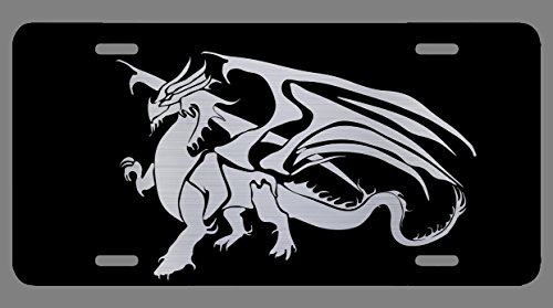 Vincit Veritas Dragon Black Etched License Plate | Premium Quality | 12-Inch By 6-Inch | LP026