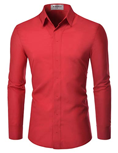 NEARKIN (NKNKS650 Super Stretchy Hide Button Point Wrinkle Free Dress Shirts RED US XXXL(Tag Size 3XL)