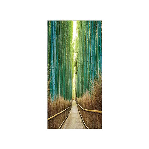 3D Decorative Film Privacy Window Film No Glue,Bamboo Forest in Japan,Panoramic View of Historic Landscape Park Decorative,for Home&Office
