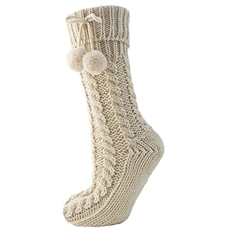 Foxbury Ladies Plush Lined Knitted Bootie Slipper Socks with Rubber Grips Cream rVLDrh