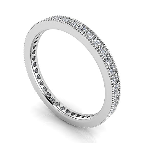 Jewelry Pop Up Shop Round Brilliant Cut Diamond Pave & Milgrain Set Eternity Ring In Platinum (0.7ct. Tw.) Ring Size 7, 3.4MM Band - Platinum Milgrain Pave