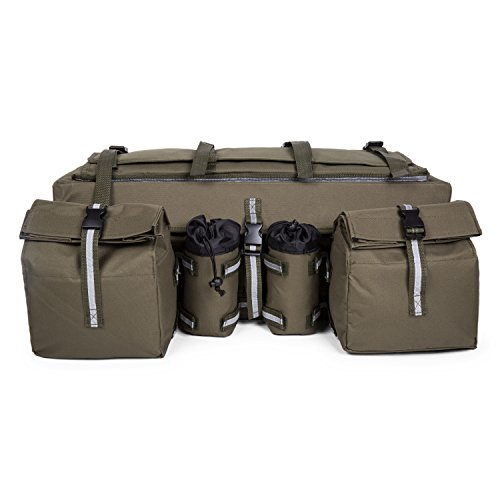 ATV Cargo Bag Rear Rack Gear Bag Made of 600D Waterproof Fabric with Topside Bungee Tie-Down Storage Padded-Bottom Multi-compartment Green