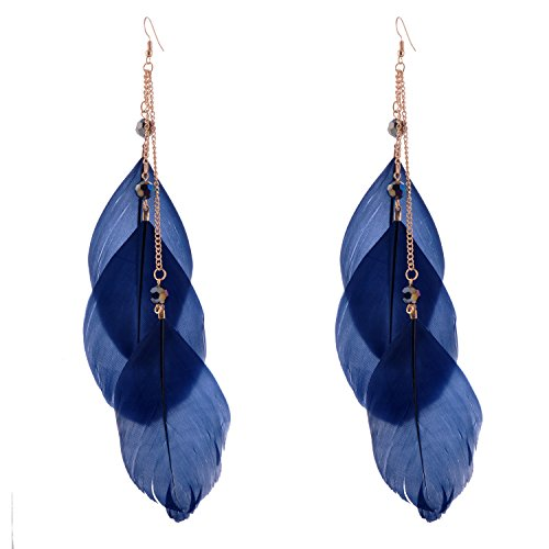 lureme Bohemian Style Women Jewelry 3 Big Feather Long Tassel with Crystal Pendant Dangle Earrings - Navy Blue(er005299-3)