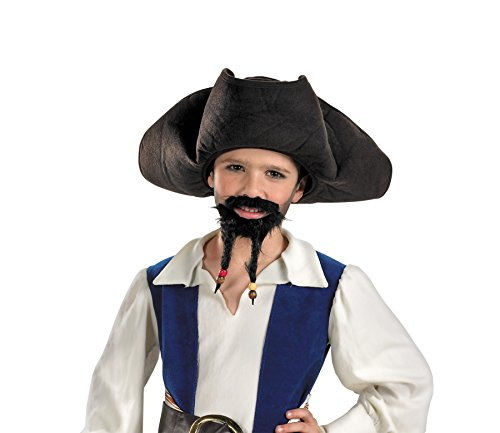 UHC Child Pirate Of Carribean Jack Sparrow Hat w/ Mustache & Goatee (Pirates Hat With Moustache And Goatee)