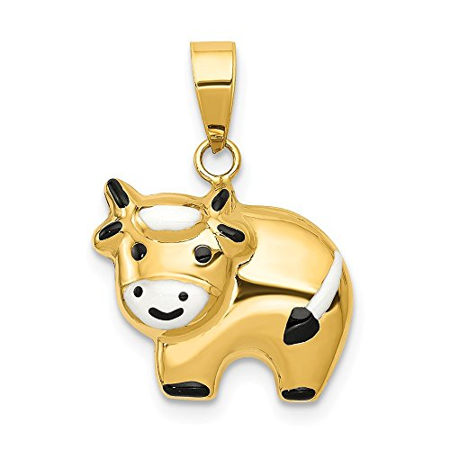 Jewel Tie 14K Yellow Gold Enameled Cow Charm - (0.75 in x 0.59 in)