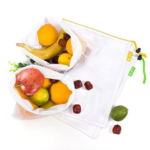 "Nlife Reusable produce Bags Washable Mesh Bags ECO Friendly Lightweight Net Bags for Grocery Shopping Storage of Fruit Toys Cosmetics Shoes (12 ""by 13.5, Set of 4)"