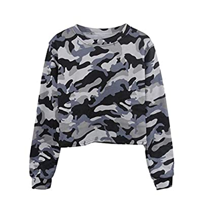 Todaies Womens Long Sleeve Camouflage Blouse Patchwork O Neck Sweatshirt Casual Blouse