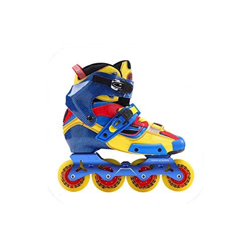 Juvenile shoulder 2019 Crazy Carbon Fiber Professional Slalom Inline Skates Adult Roller Free Skating Shoes Sliding Patines Similar,Blue,40